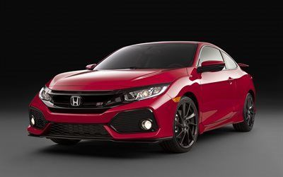 Download wallpapers Honda Civic Si Coupe, 2017, red Honda, red Civic