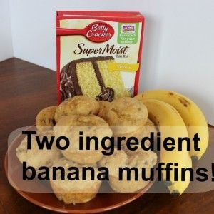 Two ingredient banana muffins!  This quick cake mix based recipe is seriously good, and seriously easy!  Very kid friendly.  Best & quickest way to use up those bananas!!