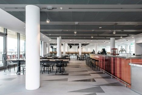 Sea Containers office architecture by Matheson Whiteley in Southbank, London, UK. Lava bar top and bar cladding by Pyrolave UK.
