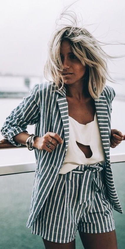 Cute gray and white striped two piece with white top.