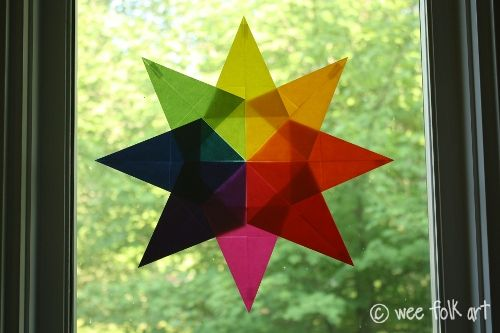 Waldorf Window Stars - I would love to do this as part of my transformational geometry unit. Instructions for folding are shown on the site....I just don't know if my fourth graders could do it!
