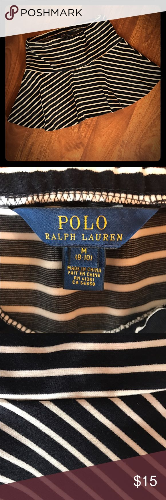 {Polo Ralph Lauren} Girl's Skirt Cute basic! Size M (8/10) girl's Polo Ralph Lauren skirt in navy/white stripes. Excellent used condition! All of my items come from my smoke-free home. Bundle and save!!! Polo by Ralph Lauren Bottoms Skirts