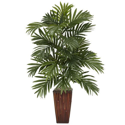 Areca Palm w/Bamboo Vase Silk Plant:   Experience the lush greenness of Madagascar with this Areca Palm and Bamboo vase. With full leaves reaching out into every direction (as if trying to spread its beauty far and wide). Set in a tall rich brown bamboo vase, this Areca Palm brings a bit of island relaxation to any environment -- This product is no longer available, however click the image to see this year's Living Gift Plants!