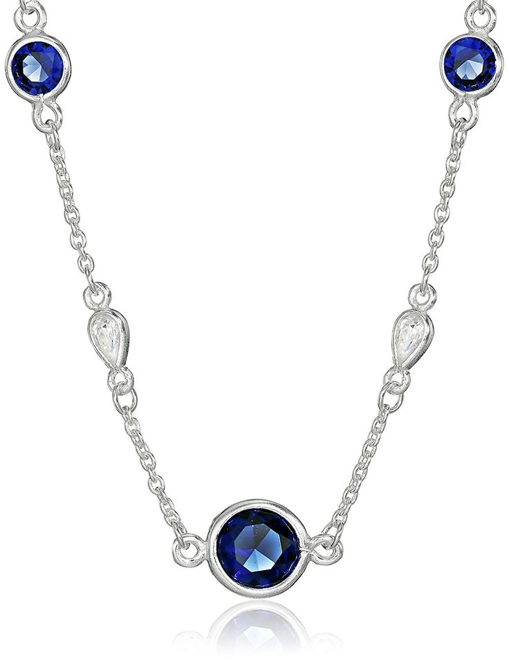 Sterling Silver Blue and White Cubic Zirconia Station Chain Necklace, 18' * For more information, visit image link. (This is an Amazon Affiliate link and I receive a commission for the sales)