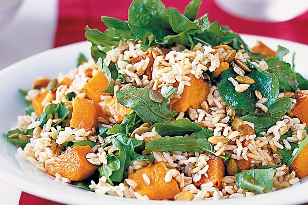 Brown rice, roast pumpkin and seed salad main image