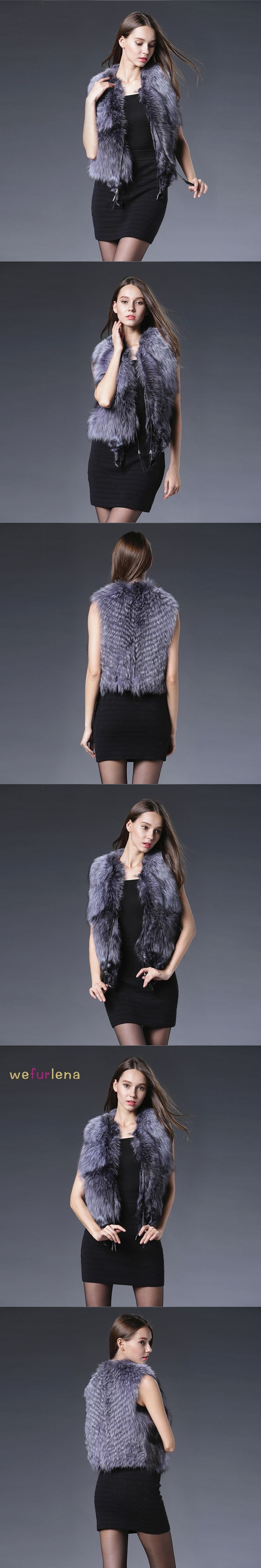 Fashion Natural Fox Fur Vests Women Real Sliver Fox Fur Gilets Genuine Fur Waistcoats Women Luxurious Fox Fur Coat