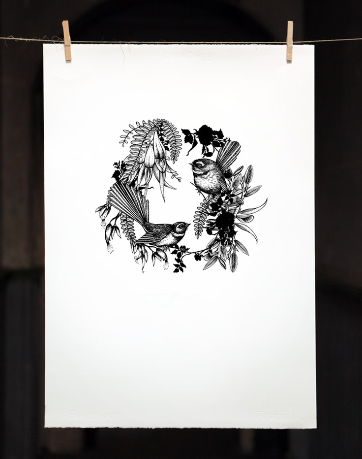 Flox FANTAIL BLACK AND WHITE SCREENPRINT  500 X 700mm  was $350 now $175