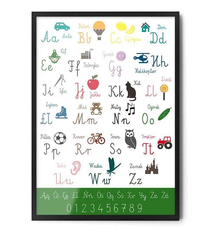 Plakat ALFABET www.foxartstudio.pl #plakat #plakaty #dladzieci #dopokojudziecka #alfabet #literki #naukaliterek