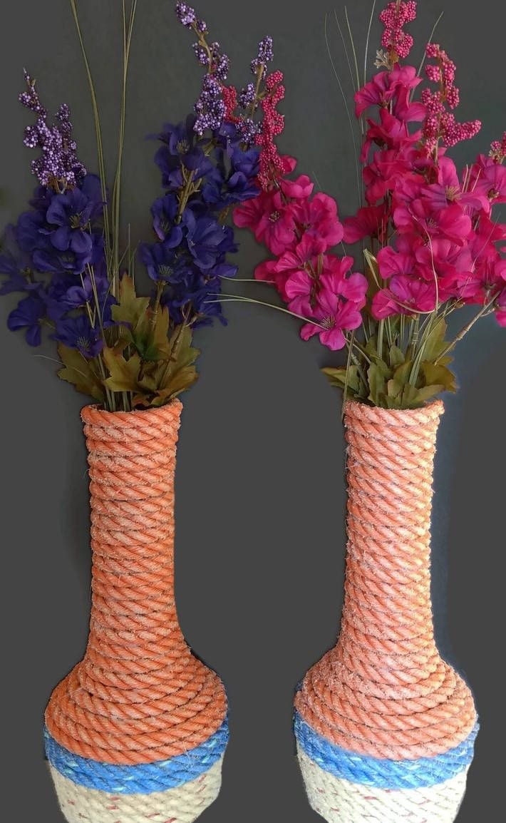 Flower Vases Nautical Decor made with Reclaimed Lobster Trap Rope Flower Vase Pair Unique Gift