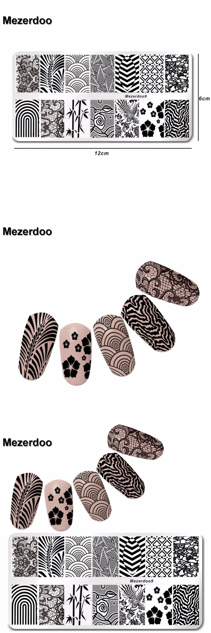 Stainless Steel Nail Stamping Template Lace Geometry Design 6*12cm Manicure Nail Art Image Plate Mezerdoo9