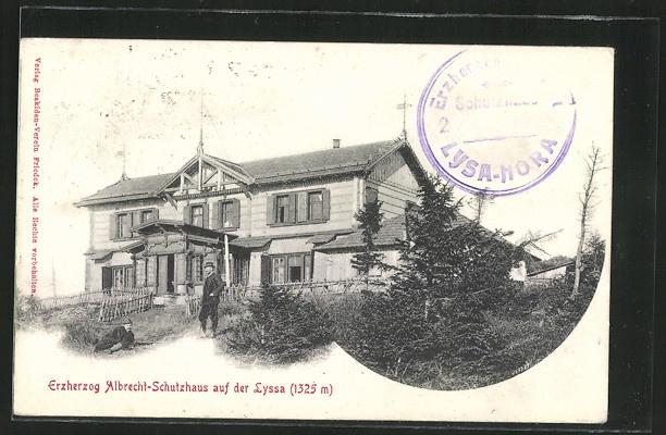 tolle AK Erzherzog Albrecht-Schutzhaus, Männer vor dem Haus 1900