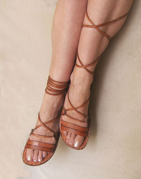 Ancient Style Lace Up Brown Leather Handmade Flat Roman by Calpas, $70.00