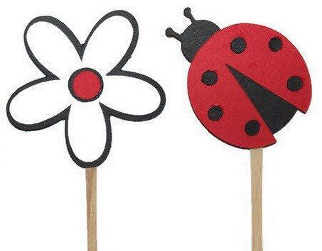 Ladybug cupcake toppers 12 by SparklingConfetti on Etsy