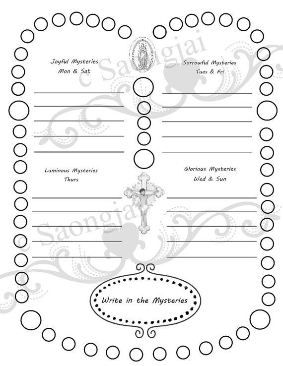 How to Pray the Rosary Coloring Page PDF by SaongJai on