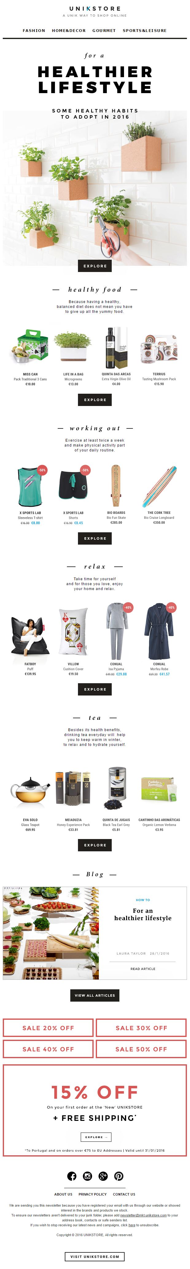 For a healthier lifestyle + 15% off + Free shipping | 2016 January