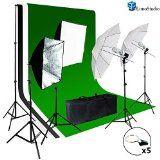 LimoStudio Photo Video Studio Light Kit - Includes Chromakey Studio Background Screen (Green Black White), (3) Muslin BackDrops, Umbrella, Softbox, Lighting Diffuser Reflector, AGG1388