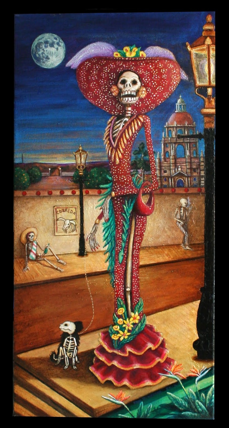 La Catrina is a figure created by the Mexican artist Jose Guadalupe Posada in the early 1900's. The word Catrina means, well dressed. Posadas satirized the women of high society by representing them as skulls and skeletons. Today's la Catrina has become a classic representation of Death in Mexico. La Catrina has become an icon.