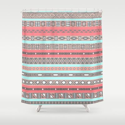 Peach Rose Baby Blue Aztec Tribal Native Pattern Shower Curtain by RexLambo - $68.00