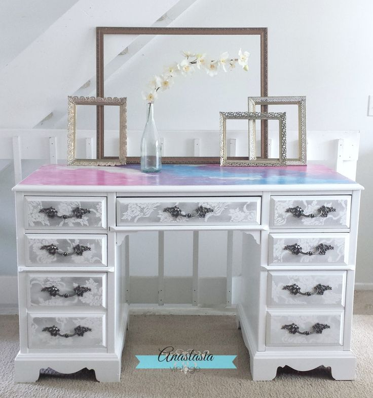 A drab desk is transformed with General Finishes Snow White Milk Paint and Unicorn SPiT wood stain.