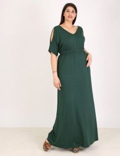 Cold shoulders maxi dress - Green