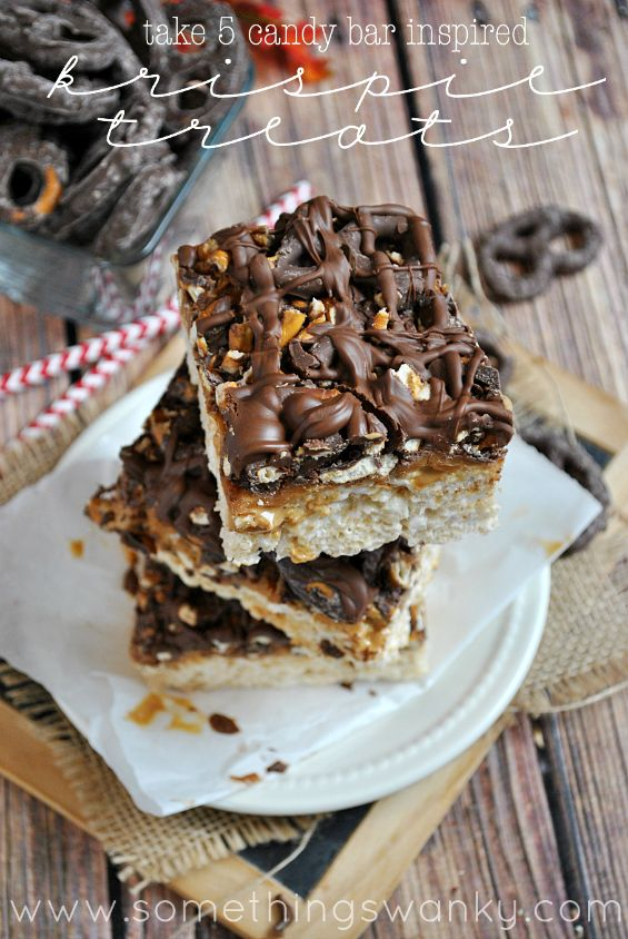 Take 5 Candy Bar-Inspired Rice Krispies Treats - Something Swanky