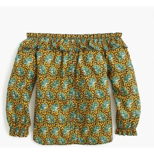J.Crew Off-the-shoulder top in Ratti® elephant print ($88) ❤ liked on Polyvore featuring tops, mixed print top, brown top, patterned tops, j crew tops and animal print tops