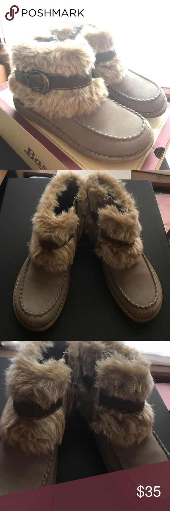 Base Faux Fur ankle boots Excellent condition! Barely worn. Offer no trade. Bass Shoes Ankle Boots & Booties