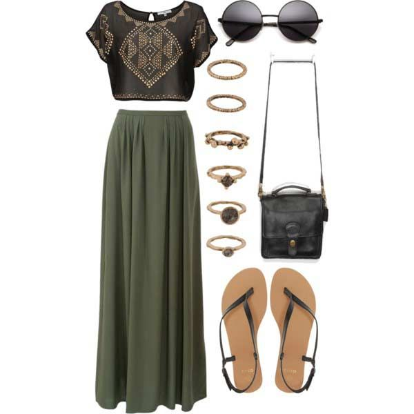 Crop Top + Maxi Skirt Outfit