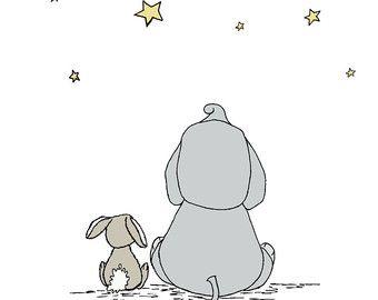 Elefante y conejo vivero arte agárrate por SweetMelodyDesigns