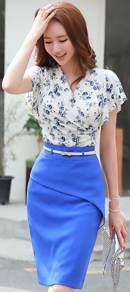 StyleOnme_Flap Design Belted H-Line Skirt #feminine #blue #pencilskirt #koreanfashion #kstyle #kfashion #seoul #summerlook