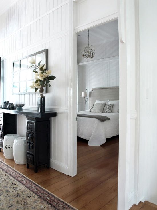 Chic Modernized Interior through Complete Renovation : Chic Modern Bedroom Design Wooden Headboard Queenslander Renovation