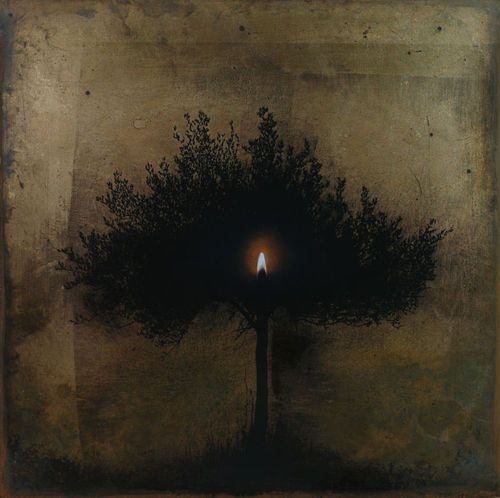 Christos Bokoros(Greek, b.1959)    Olive tree shadow – Oil Lamp   1994    oil paints and pigments on gilded wood