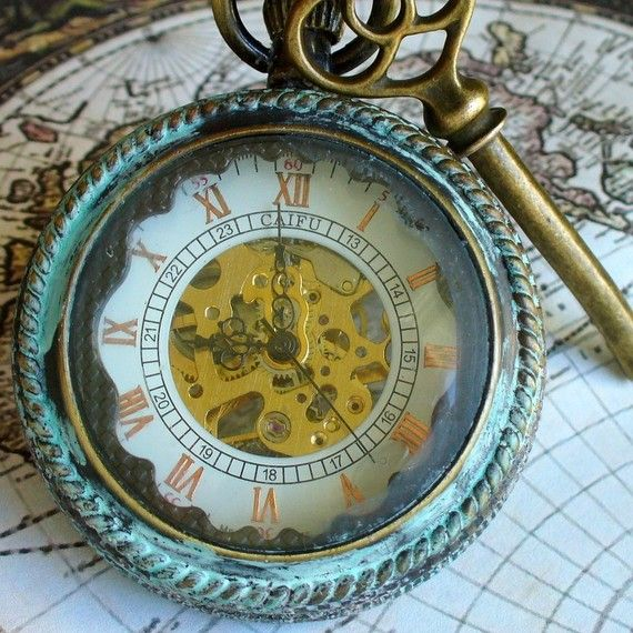 Steampunk pocket watch, key and necklace