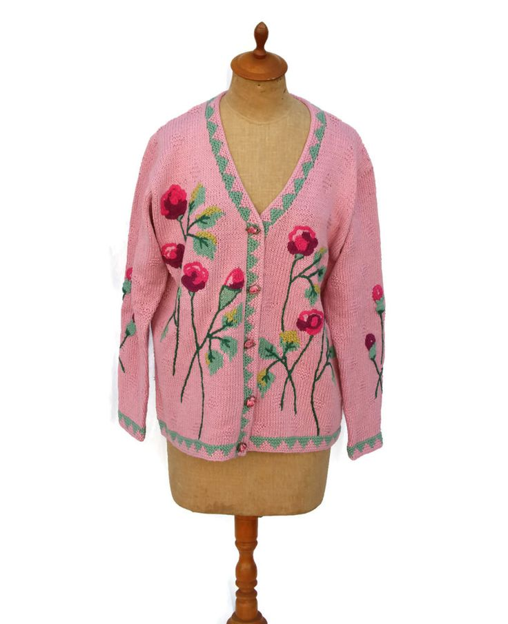 STORYBOOK KNITS HSN Women's Pink Roses Floral Embellished Cardigan Sweater M #StorybookKnits #Cardigan #Casual