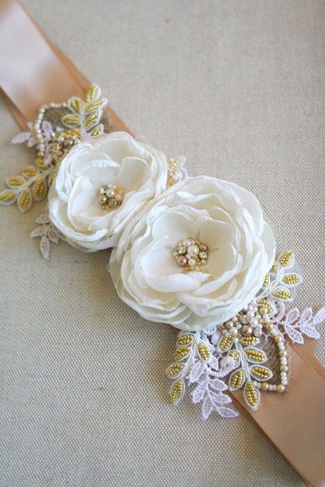 Bridal Flower Sash Wedding Dress Belt Burlap Bridal by BelleBlooms