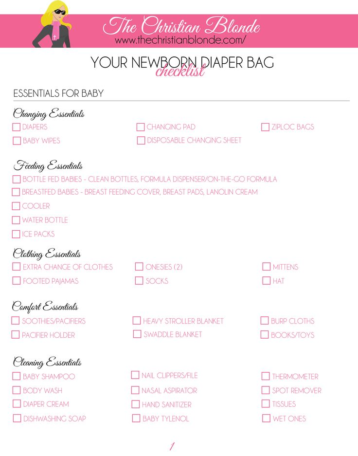 Link: http://thechristianblonde.com/diaper-bag-checklist-newborn-2/ Free Printable Checklist, How To Pack A Diaper Bag For Newborns, Blog, Blogger, Motherhood, Parenting, Maternity, Pregnancy