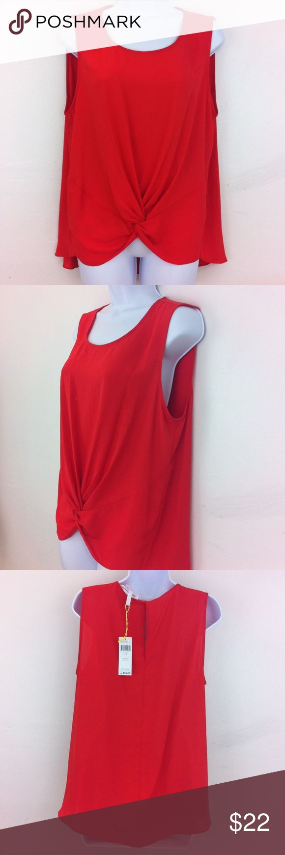 NWT BCBGGeneration top Sleeveless, knotted in front, no flaws NWT, back button. Deep reddish orange. Silky fabric. BCBGeneration Tops