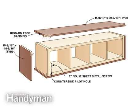 Attach plywood panels - Ikea Kallax Hack: Mid-Century Modern Console: http://www.familyhandyman.com/woodworking/projects/ikea-kallax-hack-mid-century-modern-console/view-all