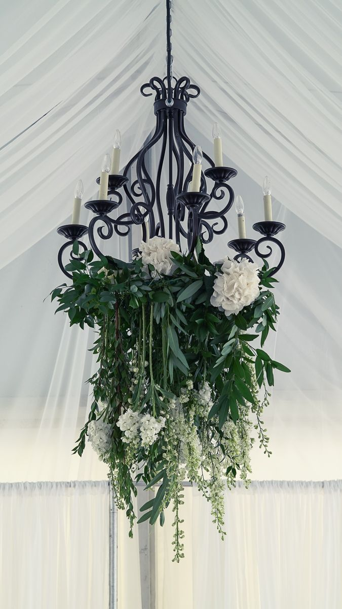 Suspended Floral Chandelier With Mixed Foliage And Hanging White Stock Hydrangea Larkspur And