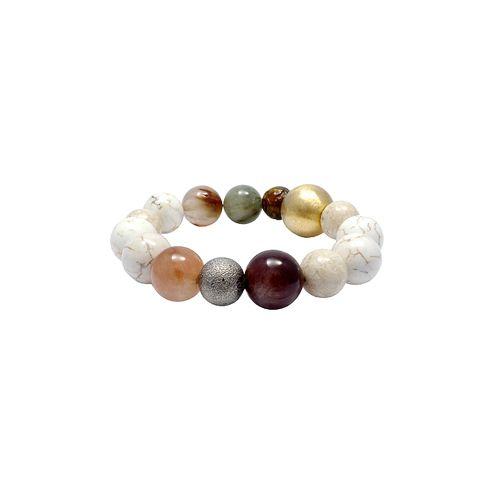 Color gem stones & silver ball stretch bracelet for calm and comfort