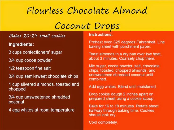 how to make chocolate almond cocnut drops without flour
