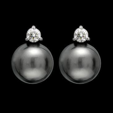 Tahitian Pearl & Diamond Studs ...Santa???