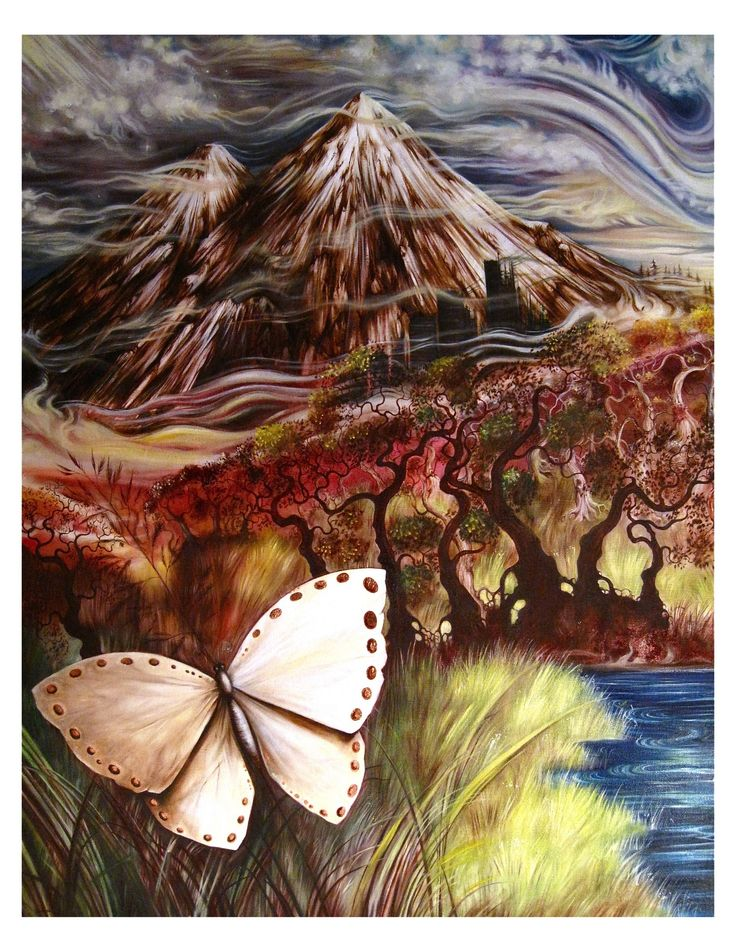 Gold spotted butterfly oil painting on canvas 80/100 cm.