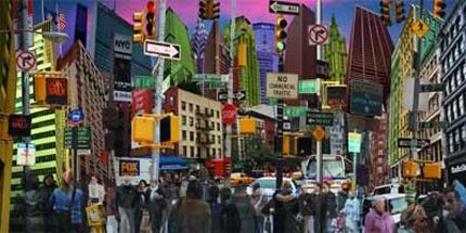 collage cityscape | wall color view to scale