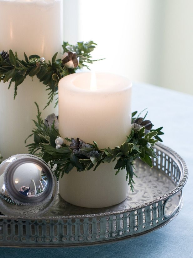 Lovely white Christmas candle with wreath