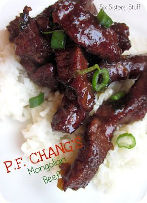 Copycat PF Chang's Mongolian Beef recipe on SixSistersStuff.com