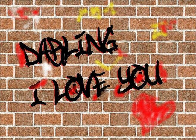 Download darling i love you graffiti card #Ad , #spon, #love, # ...