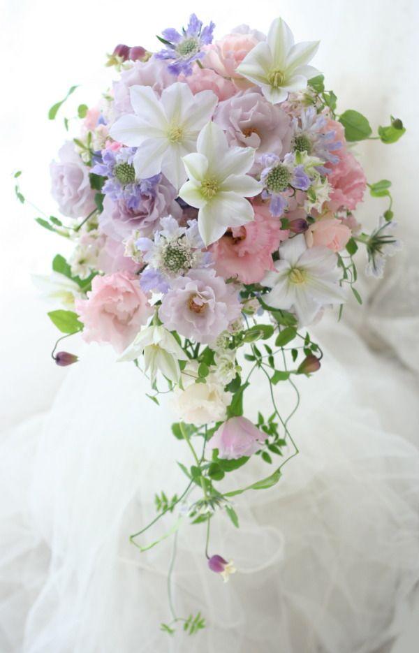 セミキャスケードブーケ クレマチス パレスホテル様へ : 一会 ウエディングの花