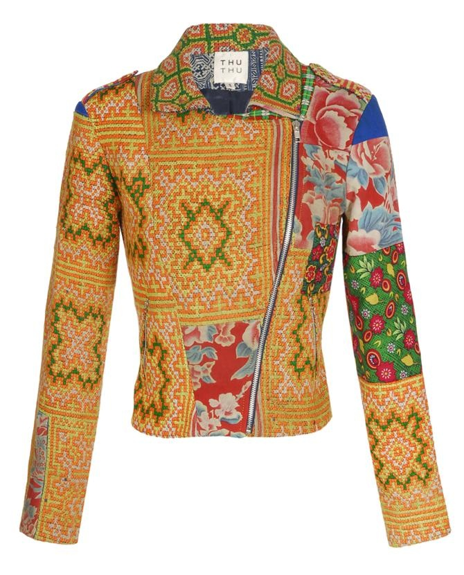 Thu Thu tribal embroidered biker jacket.