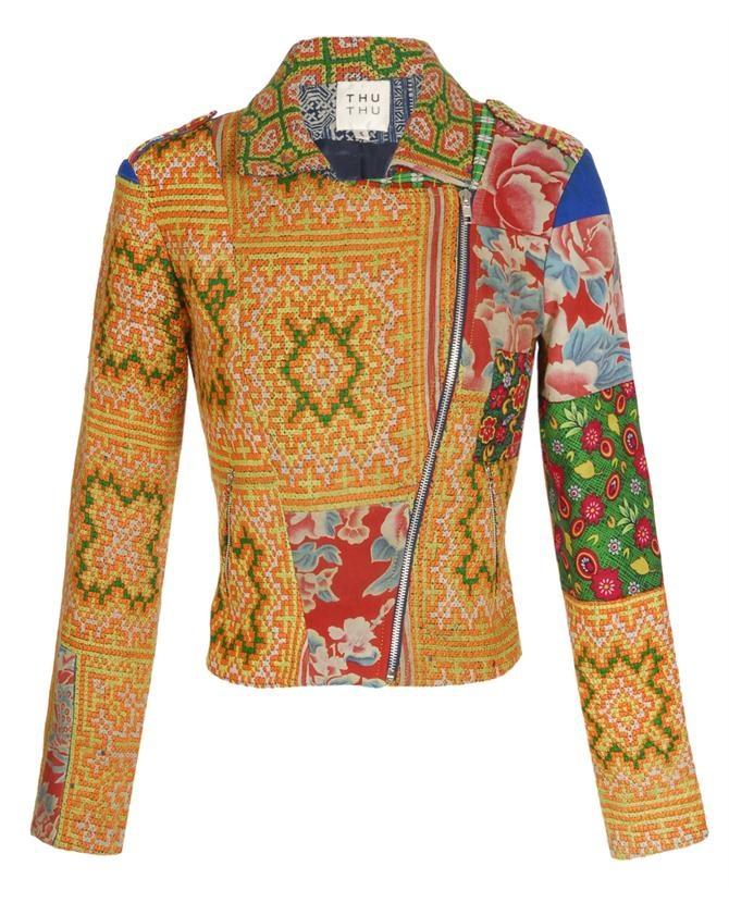 Thu Thu tribal embroidered biker jacket.